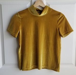 Madewell Mustard Velvet Mock Neck Tee Top Size XXS